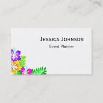 Chic Floral Border Monogram Business Card
