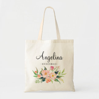 Chic Floral Bridesmaid Personalized-3 Tote Bag