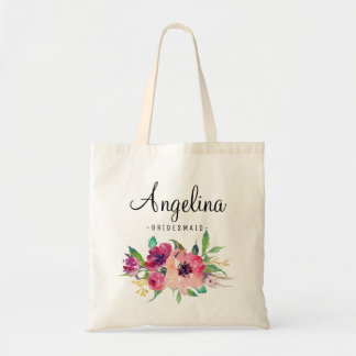 Chic Floral Bridesmaid Personalized-4 Tote Bag