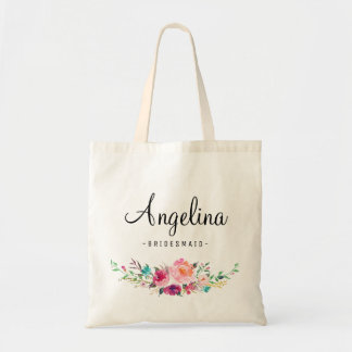 Chic Floral Bridesmaid Personalized Tote Bag