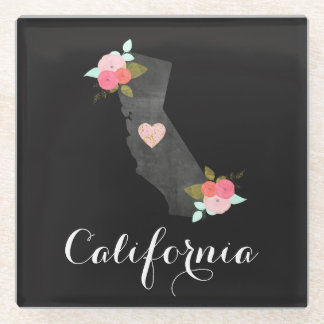 Chic Floral California State Moveable Heart City Glass Coaster