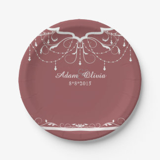Chic Floral Chandelier Brick Red Wedding Paper Plate