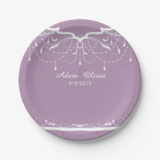 Chic Floral Chandelier Lavender  Wedding Paper Plate