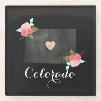Chic Floral Colorado State Moveable Heart City Glass Coaster