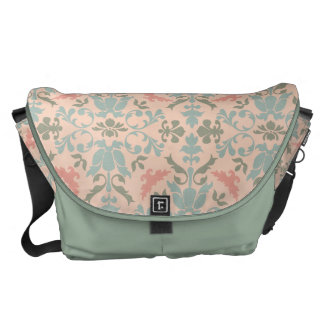 Chic Floral Damask Courier Bag