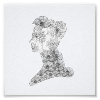 Chic Floral Face Illustration Fashion Poster