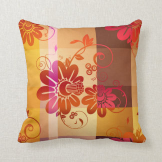 Chic Floral Fall Plaid Pattern Pillow