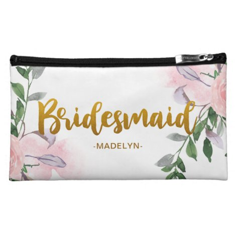 Chic Floral Faux Gold Bridesmaid Script with Name Cosmetic Bag