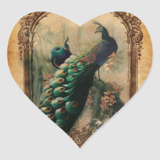 chic floral french country modern vintage peacock heart sticker