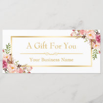 Chic Floral Gold Beauty Salon Gift Certificate