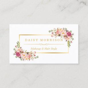 Makeup artist business cards zazzle chic floral gold frame makeup artist beauty salon business card colourmoves