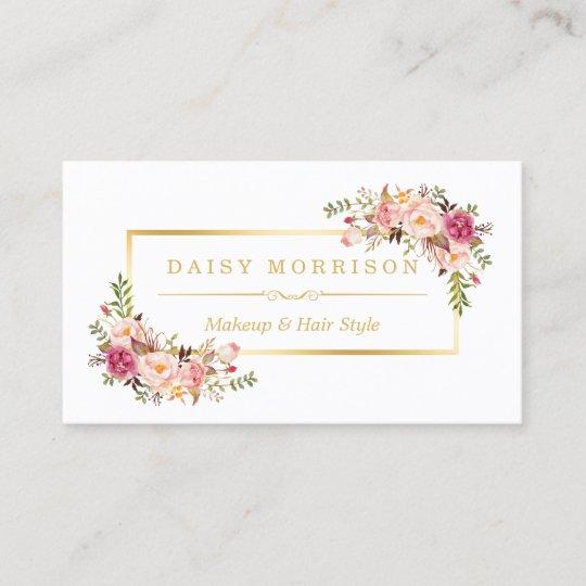 Chic floral gold frame makeup artist beauty salon business card chic floral gold frame makeup artist beauty salon business card colourmoves