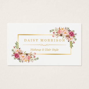 Beauty business cards templates zazzle chic floral gold frame makeup artist beauty salon business card reheart Image collections