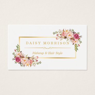 CardHunter Chic Floral Gold Frame Makeup Artist Beauty Salon Business Card