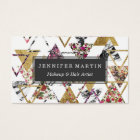 Chic Floral Gold Marble Geometric Triangles Business Card