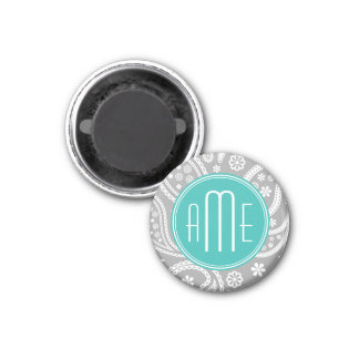Chic Floral Gray Paisley Pattern & Blue Monogram 1 Inch Round Magnet