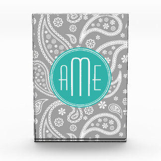 Chic Floral Gray Paisley Pattern & Blue Monogram Award