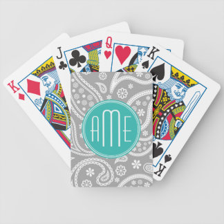 Chic Floral Gray Paisley Pattern & Blue Monogram Bicycle Playing Cards