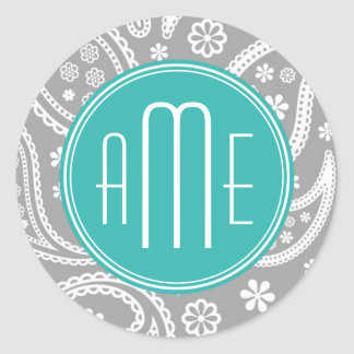 Chic Floral Gray Paisley Pattern & Blue Monogram Classic Round Sticker