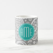 Chic Floral Gray Paisley Pattern & Blue Monogram Coffee Mug