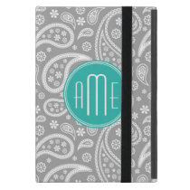 Chic Floral Gray Paisley Pattern & Blue Monogram Cover For iPad Mini