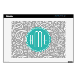"Chic Floral Gray Paisley Pattern & Blue Monogram Decals For 13"" Laptops"