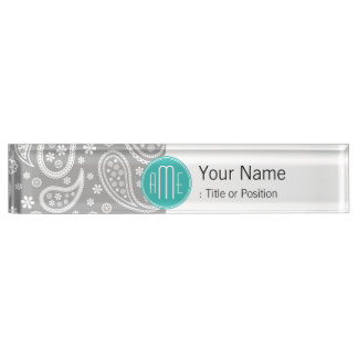 Chic Floral Gray Paisley Pattern & Blue Monogram Desk Name Plate
