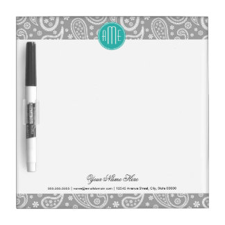 Chic Floral Gray Paisley Pattern & Blue Monogram Dry-Erase Board