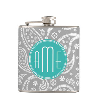Chic Floral Gray Paisley Pattern & Blue Monogram Hip Flask