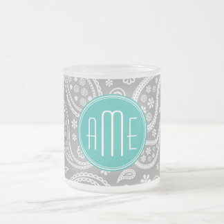 Chic Floral Gray Paisley Pattern & Blue Monogram Frosted Glass Coffee Mug