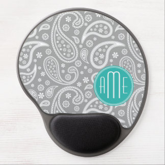 Chic Floral Gray Paisley Pattern & Blue Monogram Gel Mouse Pad