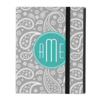 Chic Floral Gray Paisley Pattern & Blue Monogram iPad Folio Cases