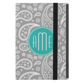 Chic Floral Gray Paisley Pattern & Blue Monogram iPad Mini Cover