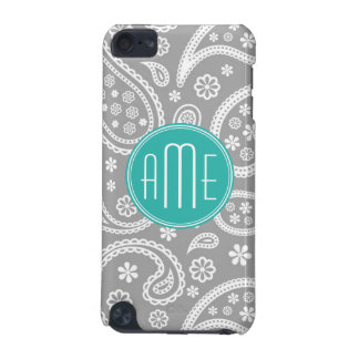 Chic Floral Gray Paisley Pattern & Blue Monogram iPod Touch (5th Generation) Case