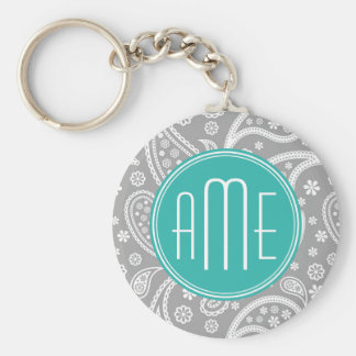 Chic Floral Gray Paisley Pattern & Blue Monogram Keychain