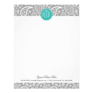 Chic Floral Gray Paisley Pattern & Blue Monogram Letterhead
