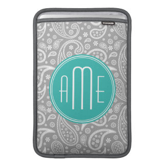 Chic Floral Gray Paisley Pattern & Blue Monogram MacBook Air Sleeve