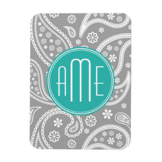 Chic Floral Gray Paisley Pattern & Blue Monogram Magnet