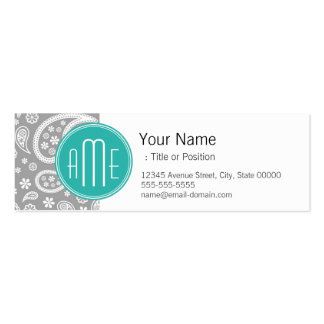 Chic Floral Gray Paisley Pattern & Blue Monogram Mini Business Card