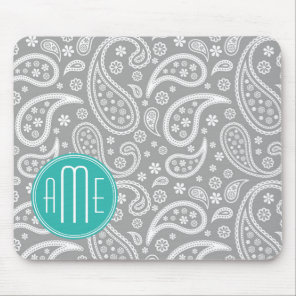 Chic Floral Gray Paisley Pattern & Blue Monogram Mouse Pad