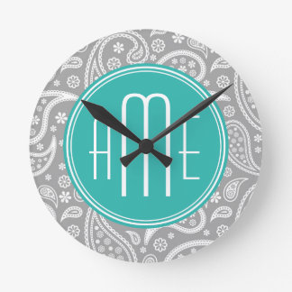 Chic Floral Gray Paisley Pattern & Blue Monogram Round Clock