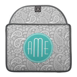 Chic Floral Gray Paisley Pattern & Blue Monogram Sleeve For MacBook Pro