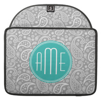 Chic Floral Gray Paisley Pattern & Blue Monogram Sleeve For MacBooks