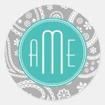 Chic Floral Gray Paisley Pattern & Blue Monogram Sticker