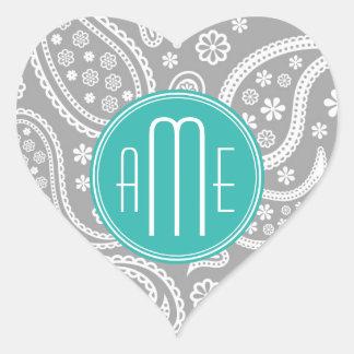 Chic Floral Gray Paisley Pattern & Blue Monogram Heart Sticker
