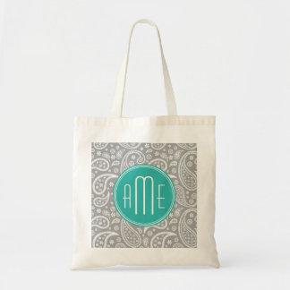 Chic Floral Gray Paisley Pattern & Blue Monogram Tote Bag