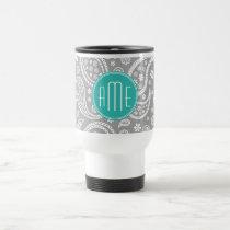 Chic Floral Gray Paisley Pattern & Blue Monogram Travel Mug