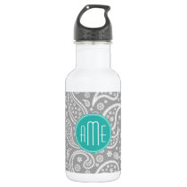 Chic Floral Gray Paisley Pattern & Blue Monogram Water Bottle