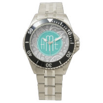 Chic Floral Gray Paisley Pattern & Blue Monogram Wrist Watches