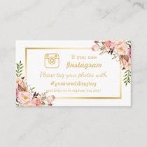 Chic Floral Instagram Hashtag Wedding Insert Card